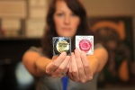 "One of the marketing techniques Crucible Tattoo uses is giving away condoms. ""If it makes someone remember me, I'll give them two,"" Miller said. (photo by Jill Ocone)"