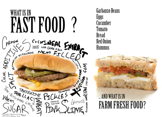The image on the left shows possible additives and ingredients represented in many types of fast foods.  On the right is a sandwich from Kitchen Table in Omaha, NE.  The restaurant only serves locally sourced ingredients.