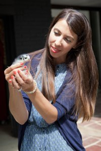 Meredith Poczontek of Gray Fox Farm holds one of the chicks that will provide eggs for local consumers in Hudson, Ohio. (photo by Lina Mia)